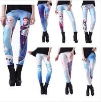 2014 Women Frozen women pants Printed trousers women Cartoon tights Galaxy Black Milk Footless American Apparel Punk Pant W00428
