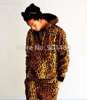 FREE SHIPPING brand leopard camouflage suprem men's Long sleeve Outerwear hoodie gold leopard cotton Fleece Sweatshirt Jacket