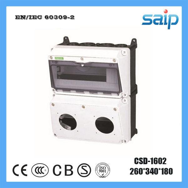 Saip Newest PC IP65 IP67 Waterproof Combined Socket Distribution Box,Weatherproof Distribution Enclosure CSD-1602(China (Mainland))