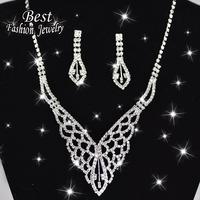 Women Fashion Jewelry Set Butterfly Shinny Short Lady Necklace Water Drop Elegant Earring Costume Jewelry F046