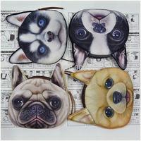 New arrival 3D Printing animal head Coin purses cartoon dog Women wallets Fashion animal coin wallets 50pcs
