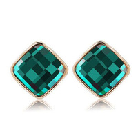 6 Colors Design Cheap Square Big Stone Filled Elegant Street Style Trendy Stud Earrings Fine Jewelry Christmas Gift For Women