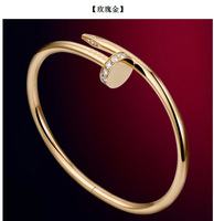 European and American jewelry personalized titanium steel rose gold color gold bangle bracelet lovers