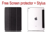 2014 New fashion luxury Ultra slim Flip stand case transparent back cover for apple ipad air 2/6 + Screen protector + Stylus