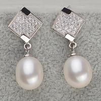 Natural Pearl Earrings Waterdrop Real Pearl Dangle Eardrop Fashion Bridal Wedding Elegant Women Jewelry 925 Sterling Silver Acc