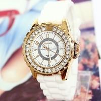 Wholesale 2014 New Fashion Brand Rhinestone Geneva Quartz Dress Watches Silicone Wristwatches Sports Watch for Women Lady White