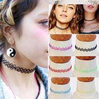 50PCS/Lot Mixed colors Vintage hippy stretch Magic tattoo choker necklace Retro elastic chocker Henna