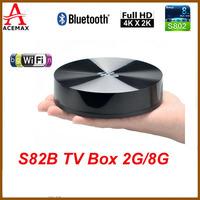 1pc S82B/S89 Elite Amlogic S802 Quad Core 2GHz Android TV Box XBMC 2G/8G  4K Display Bluetooth WiFi HDMI