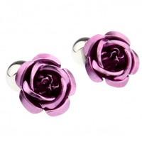 Purple Rose Flower Cufflink Cuff Link 15 Pairs Wholesale Free Shipping