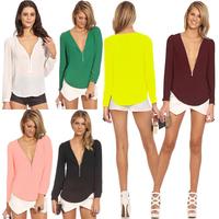 2014 Autumn Blusas Femininas Fashion Blusa Renda Casual Blouses Women V Neck Long Sleeve Zipper Top Blouse