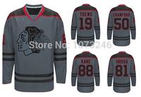 19 Jonathan Toews 50 Corey Crawford 88 Patrick Kane 81 Marian Hossa Charcoal Cross Check Chicago Blackhawks Ice Hockey Jersey