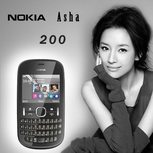 Hot Selling NOKIA asha 200 unlocked QWERTY Keyboard Refurbished cellphone mobile phone Original dual sim cards(China (Mainland))