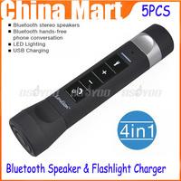 5pcs/lot New Arrival Bluetooth Handsfree Speaker LED Flashlight Power Bank Charger Car Bike Mount