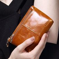 KIMO 2014 new European and American fashion leather oil wax double zero wallet key bag zipper female brief paragraph COINS