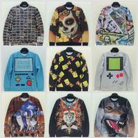 New Harajuku Fashion Men's Hoodies 1991INC Gameboy/Bart Simpson/Cat/Night Wolf/Lion Printing 3D Hoody Pullover Men Sweatshirt