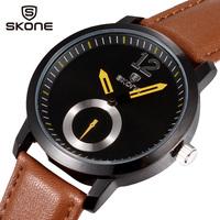 Skone Brand Relogio Masculino Watches Men Luxury Brand Quartz Sport Watch Leather Strap Brief Elegant Male Wristwatches