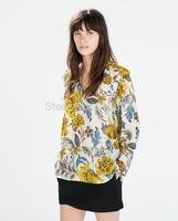 2014 new fashion women casual fashion v-neck flower printed blouse Lady elegant brand design long sleeve shirt #J418