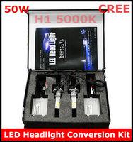 New H1 50W 5000K LED Headlight Conversion Kit CREE 2*25Watt LEDs Bulb