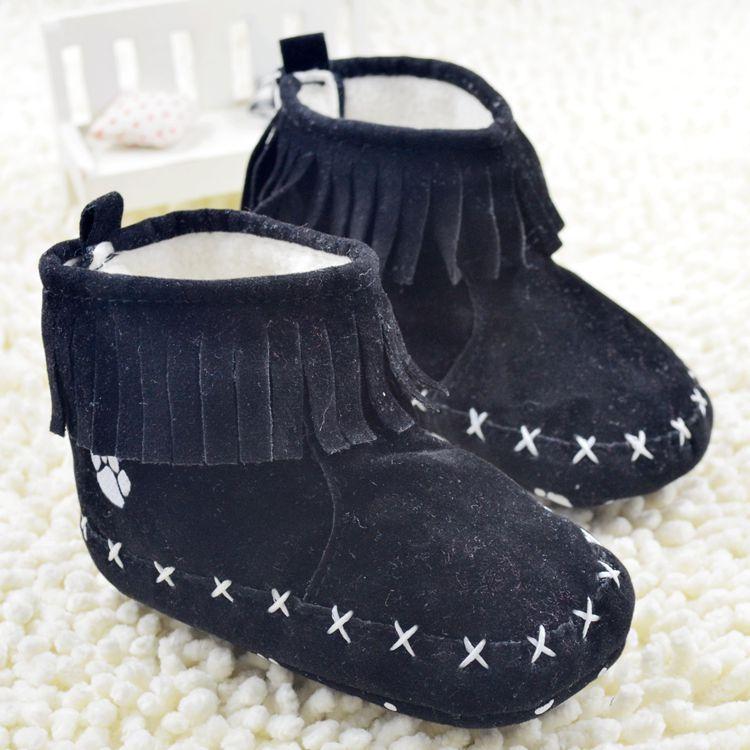 Preto liso bebê infantil borlas botas de neve / inverno quente bebê velcro prewalker / confortável bebê da criança primeiros walkers(China (Mainland))