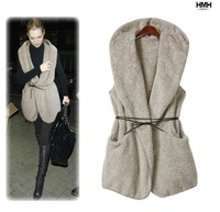 NEW ARRIVAL 4COLORS Autumn Women's Oversized Faux Lamb Fur Long Hooded Vest Coat With Belt Free shipping