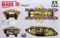 Tank model NO2008 1/35  WWI Heavy Battle Tank MARK IV Male plastic model kit