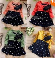 BB057 Free shipping 2014 spring new baby girls long-sleeved dress kids flower princess dress children in polka dot dress retail