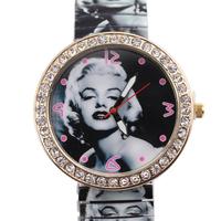 Free Shipping Fashion  Simple Marilyn Monroe pattern Style Metal Spring Band Wrist Watch