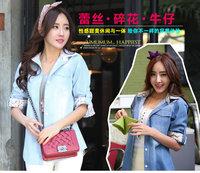 new arrival 2014 long sleeve casual denim blouse women tops for Autumn darkblue light blue S M L