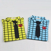 2014 Spring child long-sleeved shirt and tie houndstooth cotton baby POLO shirt boys T -shirts E 439