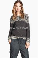 2014 new fashion women fashion elegant  snowflake brocade knitwear Lady winter casual brand design pullover sweater#J420