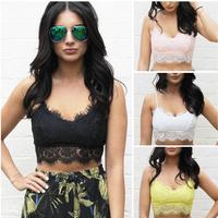 Sexy Women Lace Floral Unpadded Bralette Bralet Bra Bustier Crop Top Cami Tank