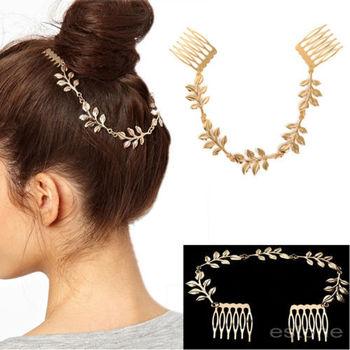Бесплатная доставка мода красоты леди сусальное золото волосы гребень клип манжеты ...