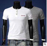 Free Shipping 2014 Winter Brand T shirts Camisetas Masculinas Short Sleeve O-neck Button Men Shirt