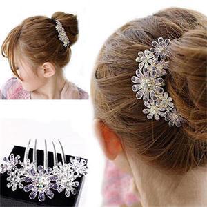 2014 New Fasihon Women Hair Clip Hairwear Elegant Purple Flower Crystal Hair Clips For Women Brand Styling Tools 1 Pcs(China (Mainland))