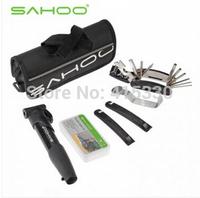 16 in 1 Bike Bicycle Tyre Repair Multifunctional Tool Set Kit with mini portable Pump