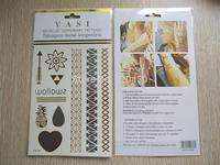 9pcs/1set Metallic tattoo flash SOFIA type 2014 promotional Non-toxic Metallic Gold and Silver Temporary Tattoo