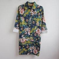2014 Summer Dresses art mosaic floral seven sleeve dress princess  0.1