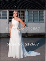 FREE Greek vestido de novia One shoulder Wedding Bridal Gown/vestidos novia blancos New Beads Chiffon Prom Ball Evening dress