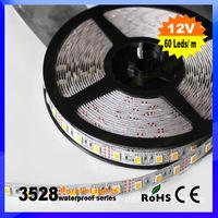 10Packlot 5m/pack 300LED/pack 3528 SMD waterproof 12V flexible light 60led/m LED strip, white/warm white/blue/green/red/yellow