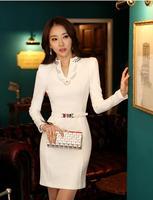 New 2014 spring summer women dress fashion casual women clothes plus size white/black office dresses long-sleeve dress LQ4618