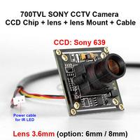 700tvl 1/3 inch sony ccd camera board cctv camera sony chip + lens + Lens mount + cable
