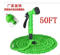 Free Shipping! After Stretched Working Lenght 15M Plastic Connector 50FT Green Garden Water Hose+Spray Gun