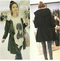 New 2014 Women Long Sleeve Thicken Fleece Hooded Parka Zipper Overcoat Winter Coat Jacket Plus Size M L XL Black  Army Green