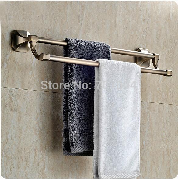 Classic Brass Antique Wall Mounted Double Bath Towel Bar Bathroom Towel Rack Good Quality(China (Mainland))