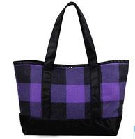 Purple Plaid Women Should Bags Environment-friendly Shopping Bag Casual Fabric Bag Large Capacity