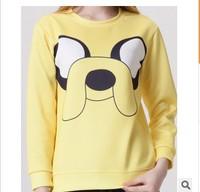 Autumn winter 2014 Fashion Adventure Time Print Women Hoodies Cartoon Female SWEATSHIRT Pullovers Cotton Drop Shipping W00430