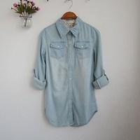 Value of 2014 autumn Lapel washing cotton big code leisure all-match long sleeved denim shirt 0.42