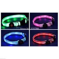 LED Nylon Flashing Illuminous Adjustable Safety Dog Pet Light Plain Collar Tag