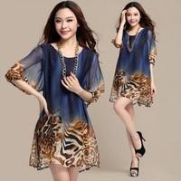 2014 Fashion plus large size women's loose ink painting dress leopard print vintage chiffon dress half sleeve size L XL XXL XXXL