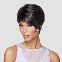 Hot! Fashion Trendy Heat Friendly Synthetic Women's Short Black Wigs with Long Full Side Bangs